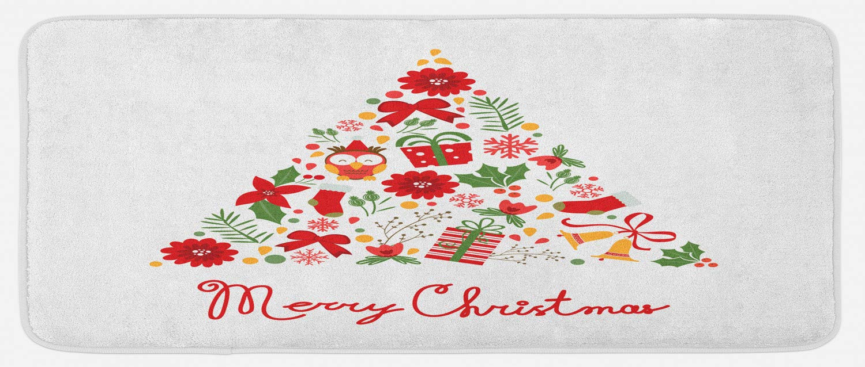 Amazon Com Lunarable Merry Christmas Kitchen Mat Tree