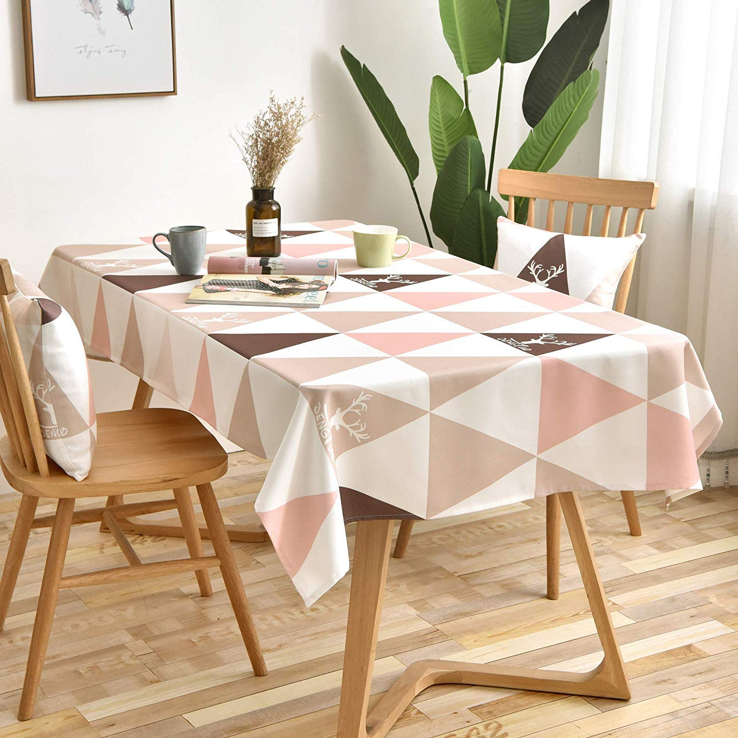 MODERN HOMES Printed Cotton Tablecloth for Dining Table, Patio Table,  Picnic Table, Hotel Buffet Table; Blush Pink Table Cover 27x27 inches (27  Seater)