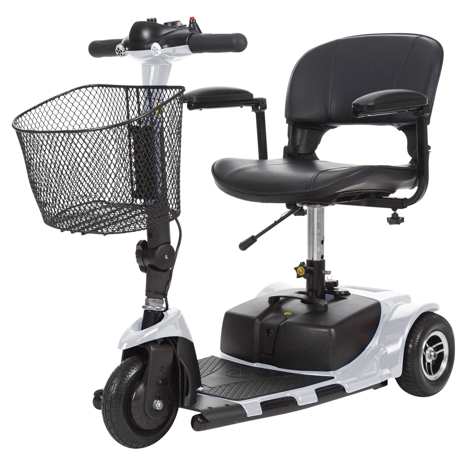Vive 3-Wheel Mobility Scooter - Electric Powered Mobile Wheelchair Device for Adults - Folding, Collabsible and Compact for Travel - Long Range Power Extended Battery with Charger and Basket Included by Vive