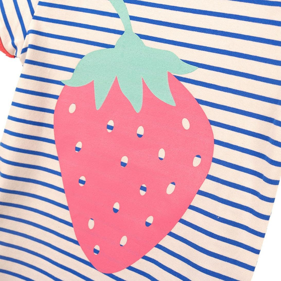 4-5T Webla Toddler Kids Baby Girls T-Shirt Strawberry Pattern Striped Summer Tops Blouse for 1-5 Years