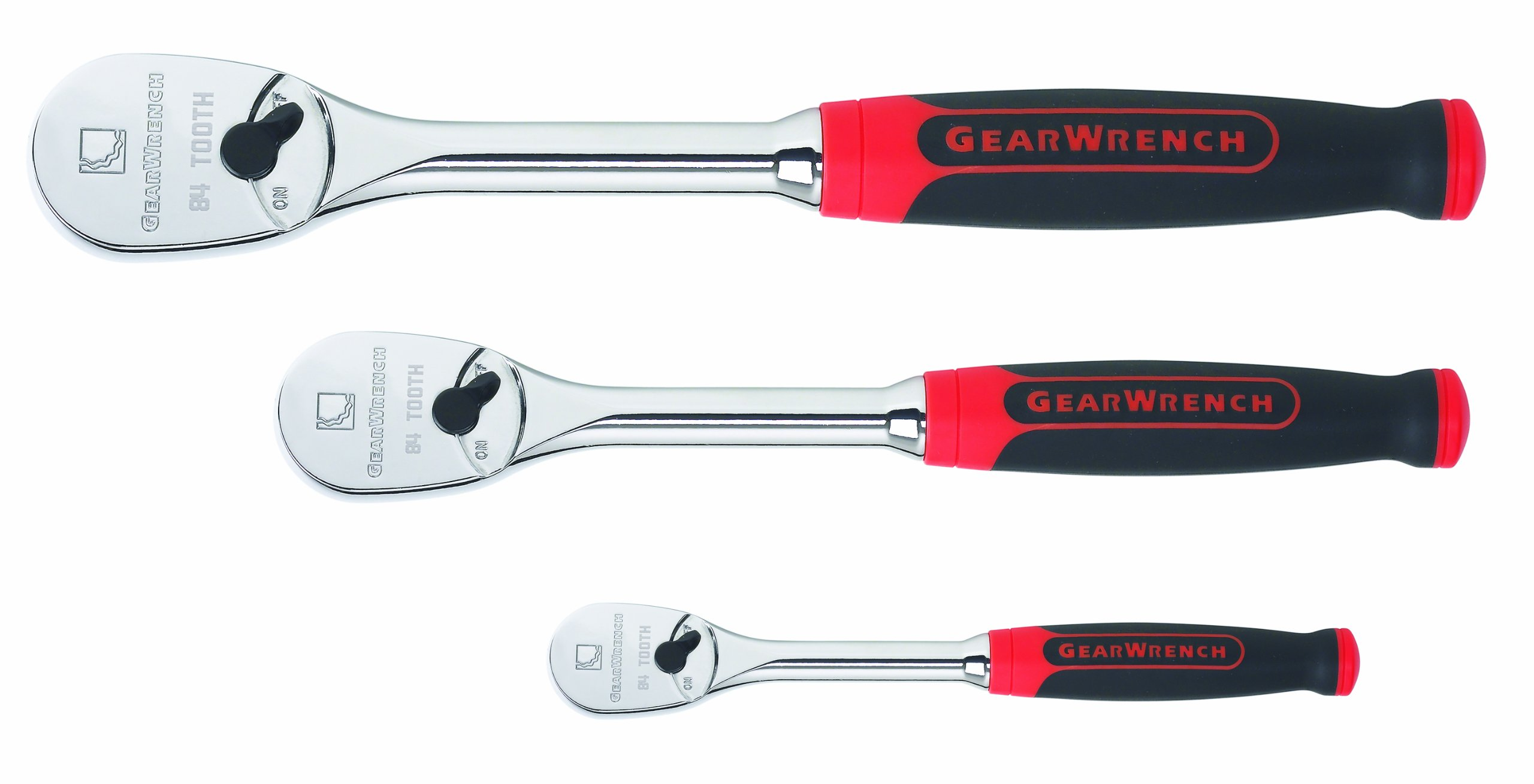 GearWrench 81207F 3 Pc. Cushion Grip 84 Tooth Ratchet Set by GearWrench