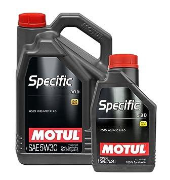 Aceite Motor Motul Specific 913D 5W-30 100% sintético - Service Pack Color 6 Litros: Amazon.es: Coche y moto
