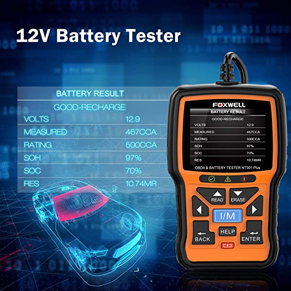 Compared to Foxwell NT301, NT301 Plus can test 12 V vehicle batteries