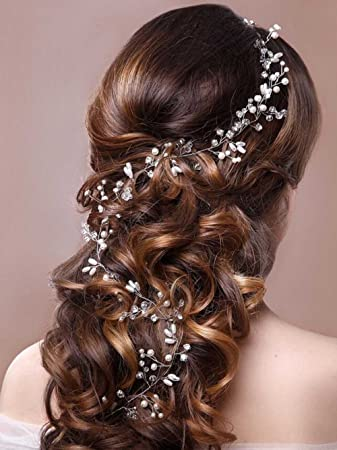 Amazon.com   Unicra Wedding Headpiece Decorative Bridal Headband Hair Vine  Hair Piece Accessories for Brides and Bridesmaids(19.7 Inches)   Beauty a004fc582533