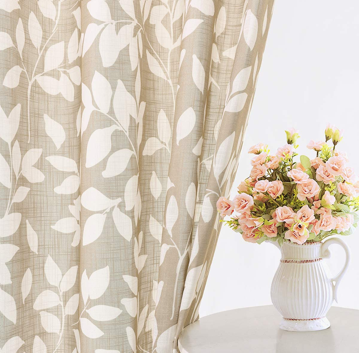 Leaf Print Semi Sheer Curtains For Living Room 52 X 63 White And Taupe Curtain Panels For Windows 2 Pack Taupe Grommet Top Amazon Ca Home Kitchen