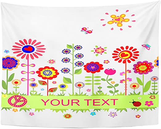 Tapestry Colorful Power Greeting Border with Funny Abstract Flowers Back Home Decor Wall Hanging for Living Room Bedroom Dormisette 60 x 80 Inches: Amazon.es: Juguetes y juegos