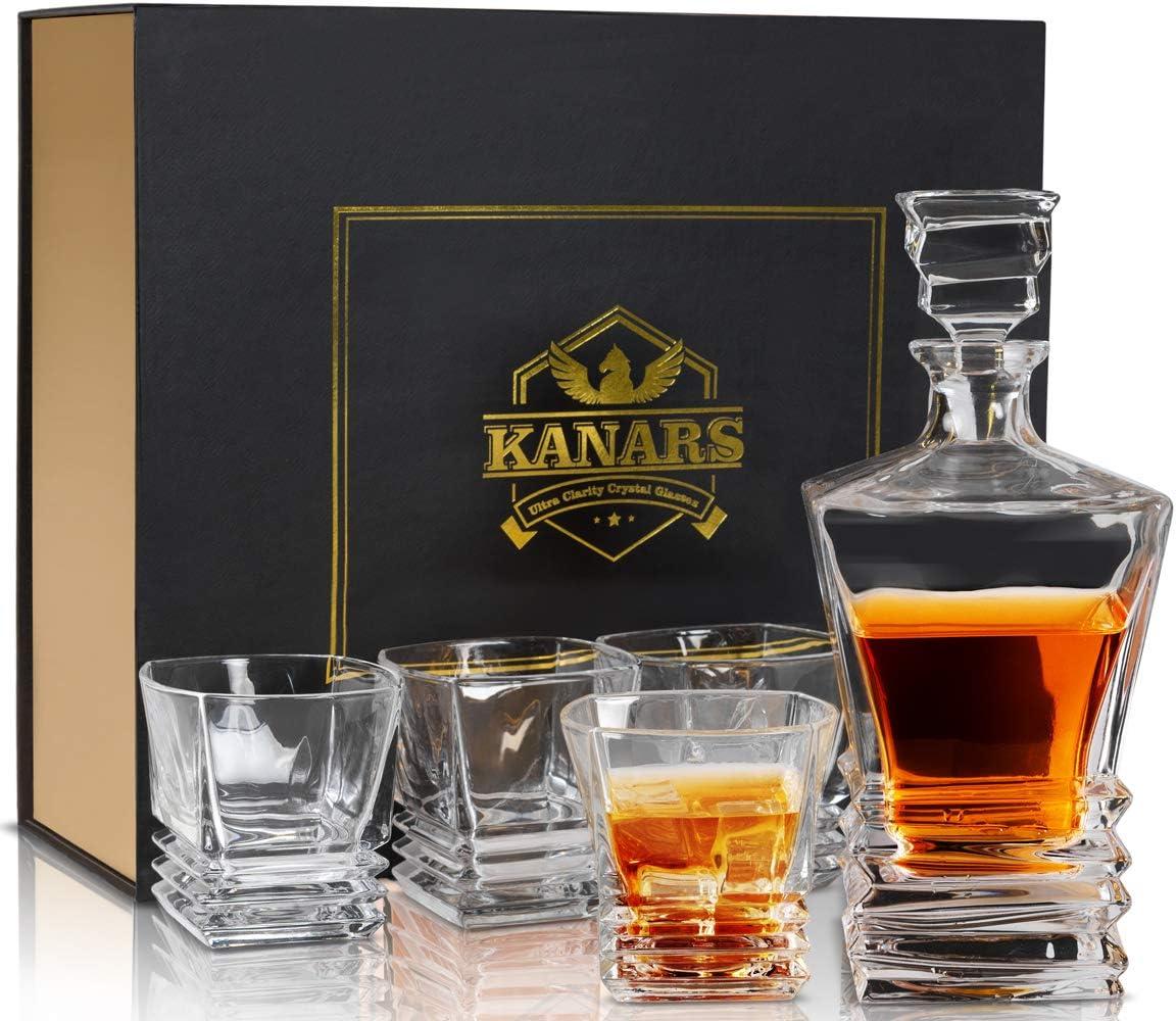 KANARS WD07 Jarra de Whisky, 5 Piezas, 100% Libre de Plomo Cristalino Resistente Botella de Whisky Set para Scotch, Bourbon,800ml Decantador y 4 Vasos de Whisky 260ml, Caja de Regalo de Lujo