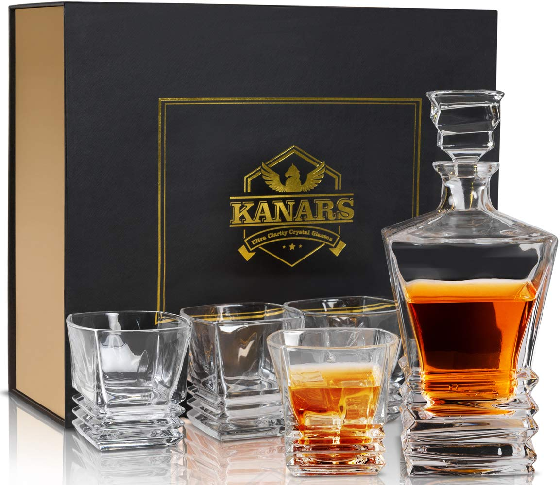 Original Pacific Whiskey Decanter And Glass Set, KANARS Premium Lead Free Crystal Liquor Decanter Set For Scotch, Bourbon, Irish Whisky And Godmother Cocktail With Luxury Gift Box, 5-Piece by KANARS
