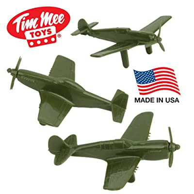 Tim Mee WW2 Fighter Ace Planes - 3 Green Plastic Army Men Airplanes Made in USA: Toys & Games