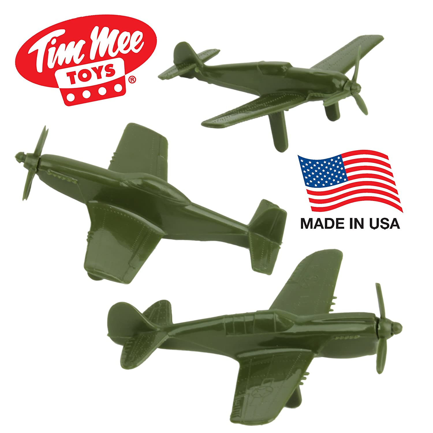 On Sale Tim Mee Ww2 Fighter Ace Planes 3 Green Plastic Army Men Spy Jet Escape 8638 Airplanes Made