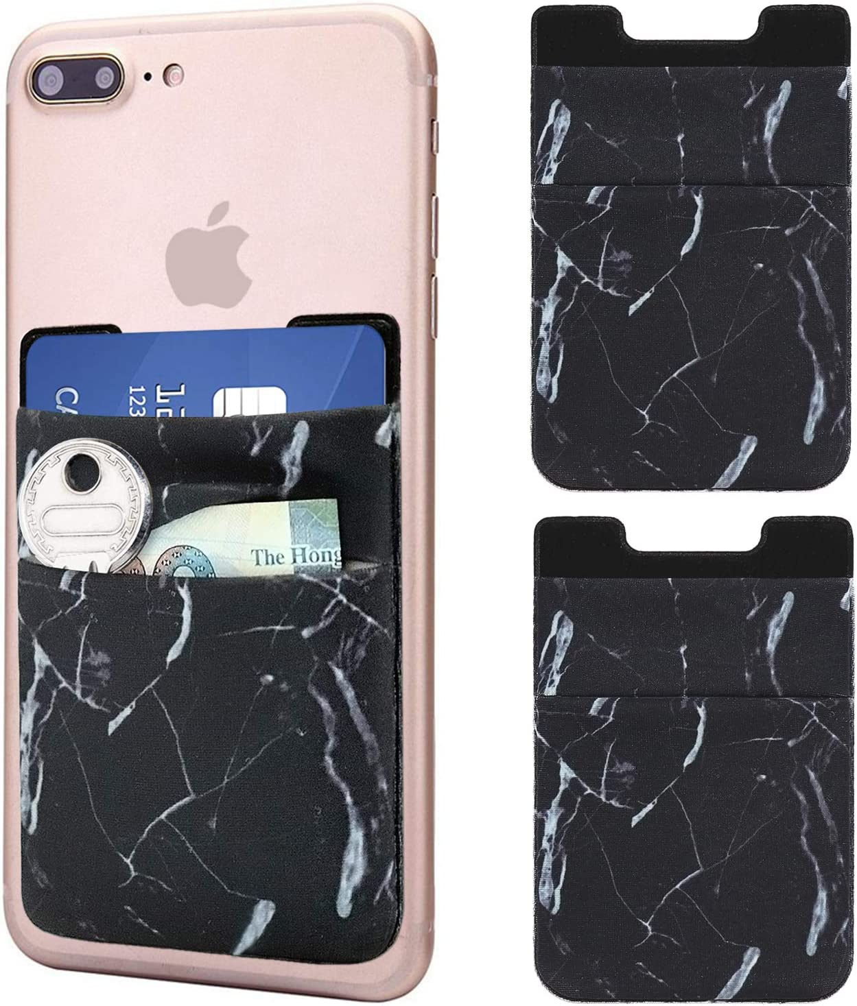 Cell Phone Wallet SHANSHUI 3-M Adhesive Card Sleeve Silicone Card Pouch Stick on Phone Works with iPhone//Samsung Galaxy//Sony//Huawei and Most Smart Phones Black,White,Pink