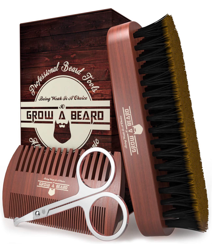 Beard Brush & Comb Kit w/ Beard Scissors Grooming Kit, Beard Brush For Men, Natural Boar Bristle Beard Brush, Men's Beard Brush, Boars Hair Beard Brush, Beard Brush Set, Wood Comb Great for Mustaches