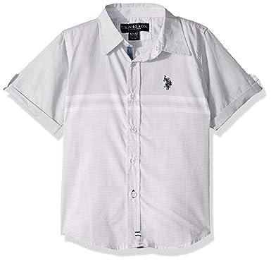 U.S. Polo Assn. Boys Short Sleeve Striped Textured Woven Shirt ...