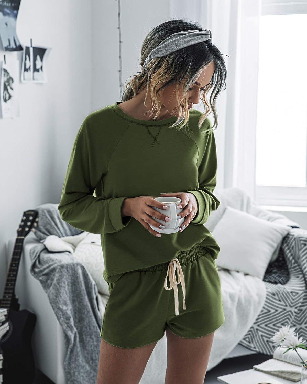 Spec4Y Schlafanzug Damen Oberteile Shorts Langarm Pyjama Sommer Kurz Hose Nachtw/äsche Locker Set Hausanzug Tops