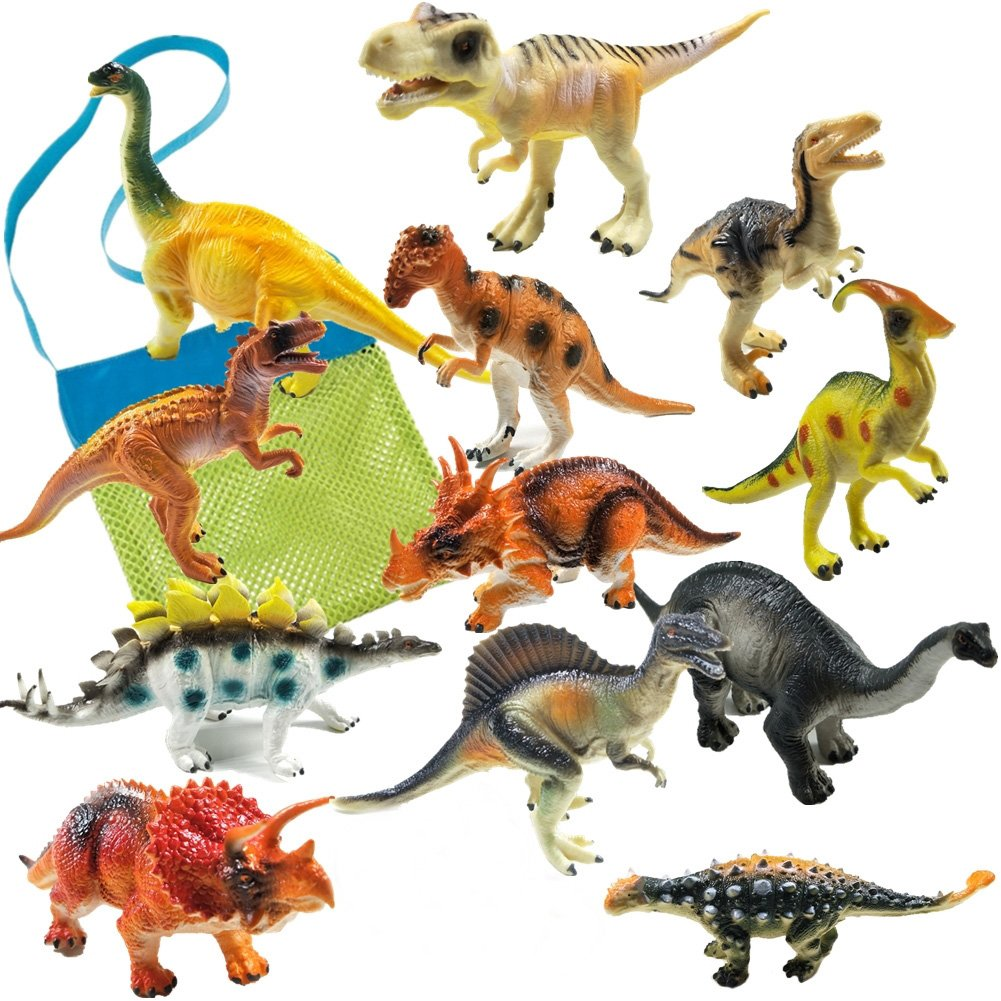 IROCH Dinosaur Action Figure Toys 12pcs 7 Inch Jumbo STEM Educational Realistic Plastic Dinosaur Playset For 3 Years Up Toddlers and Older Kids Easter Eggs Random Color 12PCS
