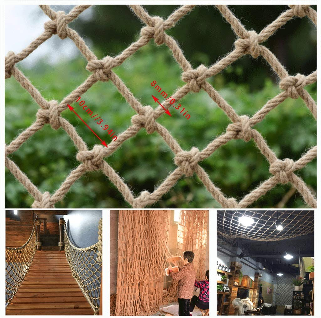 Hemp Rope Decoration Net, Children's Pet Safety Net Stairs Balcony Fence Climbing Rope Braided Rope Cargo Trailer Net Cat Net Hanging Clothes Net Indoor Ceiling Decoration Net Outdoor Plant Climbing N by Fengxxhh