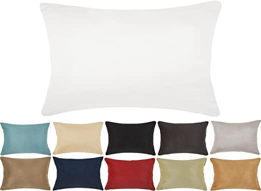 DreamHome 12 X 18 Inches Faux Suede Decorative Lumbar Pillow Cover/Sham (White)