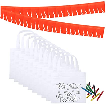 Partituki Regalos Cumpleaños Niños Colegio 10 Bolsas de Colorear, 10 Sets de 5 Ceras de Colores y una Guirnalda (Color Aleatorio) de 20 m. Ideal para ...