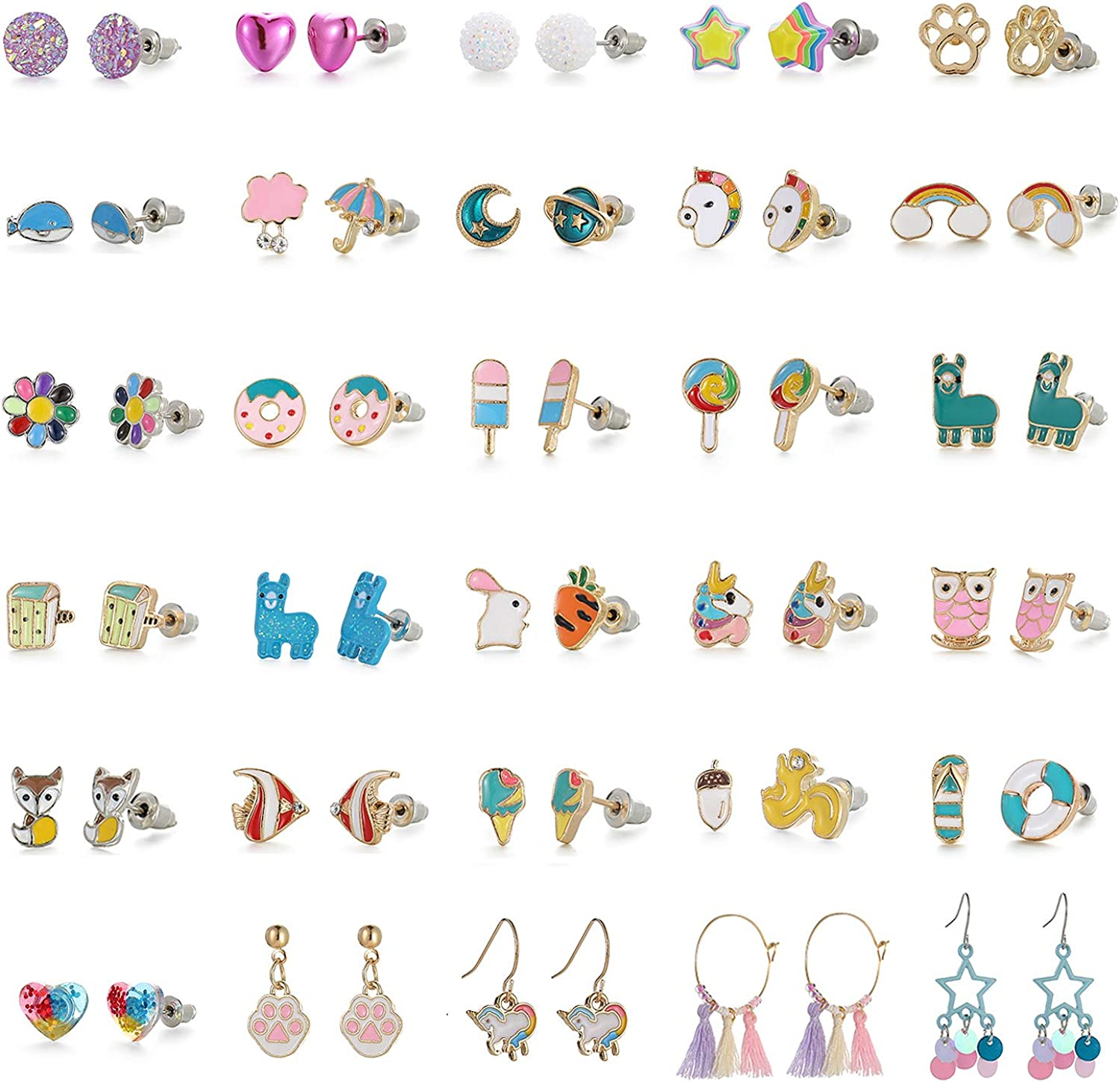 Hypoallergenic Earrings for Girls Kids, Colorful Stud Earrings, Animal Alpaca Rainbow Unicorn Cute Earring Jewelry Set Gifts for Girls Kids Women