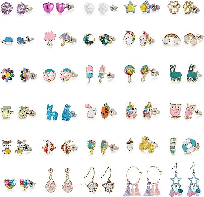 MANVEN Hypoallergenic Unicorn Stud Earrings Adorable Animal Earring for Girls Daughter Niece Birthday Gift