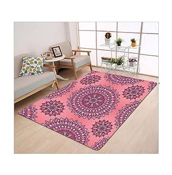 kisscase Custom alfombra morado Mandala antigua filigrana inspiradas en el arte étnico bohemio Kitsch Oriental pantalla Coral rosa: Amazon.es: Hogar