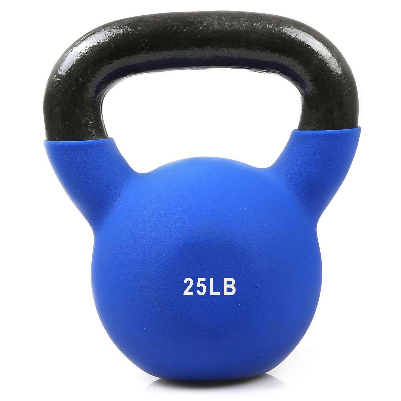 RitFitビニールコーティングソリッド鋳鉄ケトルベルのフルボディワークアウト、重量損失&強度トレーニング( with LBマーキング)  25LB(Dark Blue New) B079KY86Z6