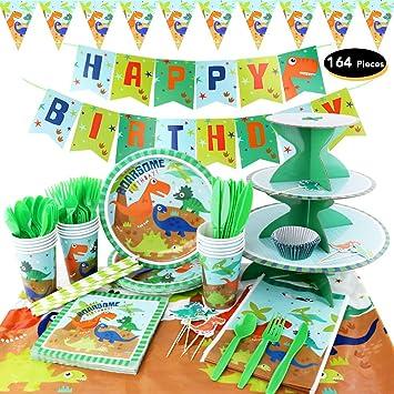 Amazon.com: hapycity 164pcs Dinosaurio Party Supplies Set ...