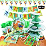 hapycity 164Pieces Dinosaur Party Supplies Set Serves 16 for Kids Birthday Theme Party Baby Shower School Party Daily…