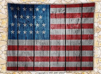 Amazon Rustic Decor American Usa Flag Fleece Throw Blanket