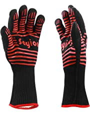 Soyion 932°F Extreme Heat Resistant Gloves,Kitchen Silicone Gloves Five Fingers,BBQ Grilling Cooking Gloves Heat Proof Oven Gloves Set - 1 Pair (Red)