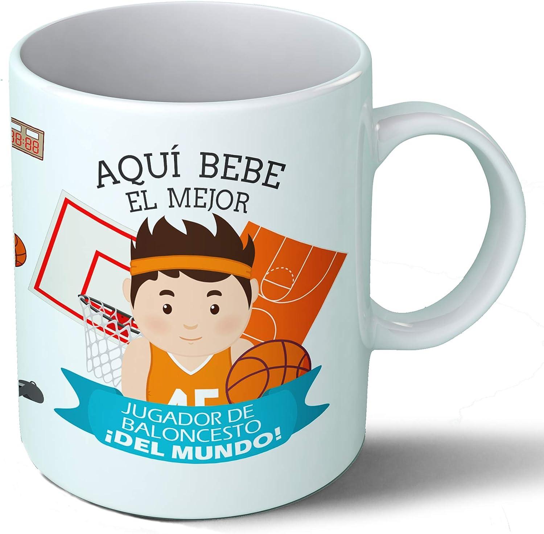 Planetacase Taza Desayuno Aquí Bebe el Mejor Jugador de Baloncesto del Mundo Regalo Original basquet Deportes ...