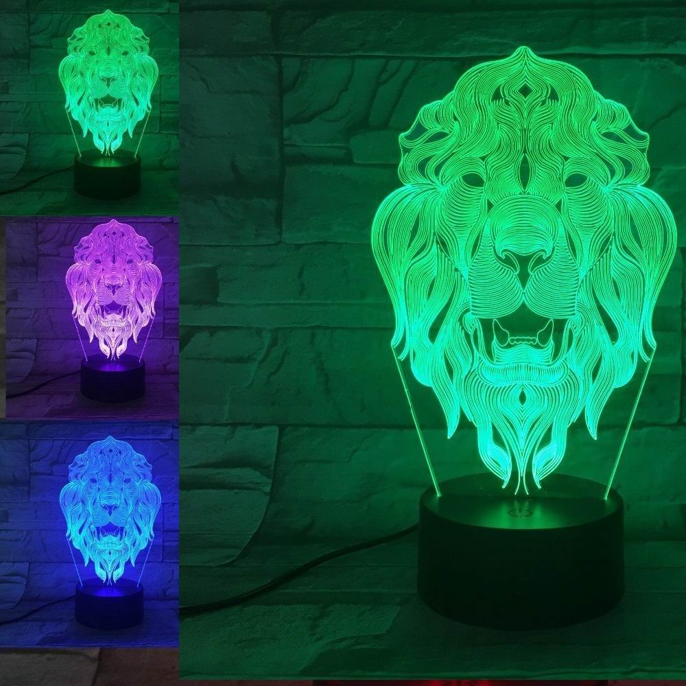 3D Lion Animal Night Light 7 Color Change LED Table Desk Lamp Acrylic Flat ABS Base USB Charger Home Decoration Toy Brithday Xmas Kid Children Gift