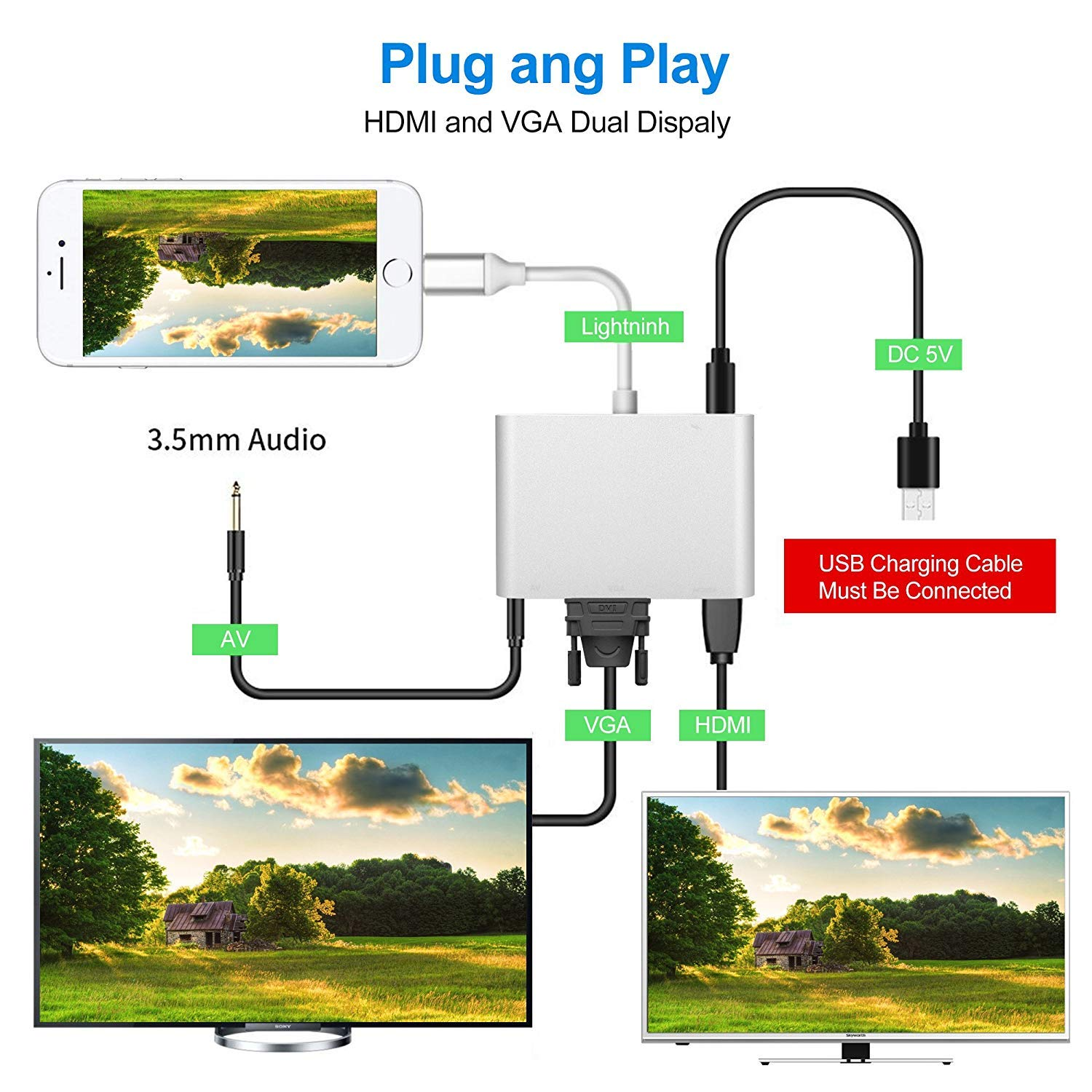 Bambud Compatible with iPhone iPad to HDMI VGA AV Adapter Converter 4 in 1 Plug and Play Digital AV Adapter Compatible with iPhone Xs Max XR 8 7 6s Plus 6 iPad iPod to HDTV Projector Monitor