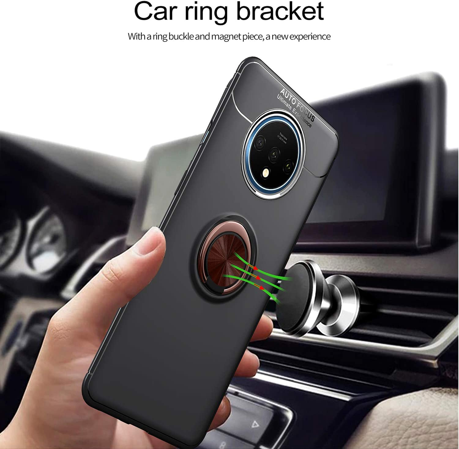 Frosting Thin Soft Protective and 360/° Adjustable Finger Ring Holder Kickstand Fit Magnetic Car Mount Cover for OnePlus 7T-Black+Rose DLseego Compatible with OnePlus 7TCase