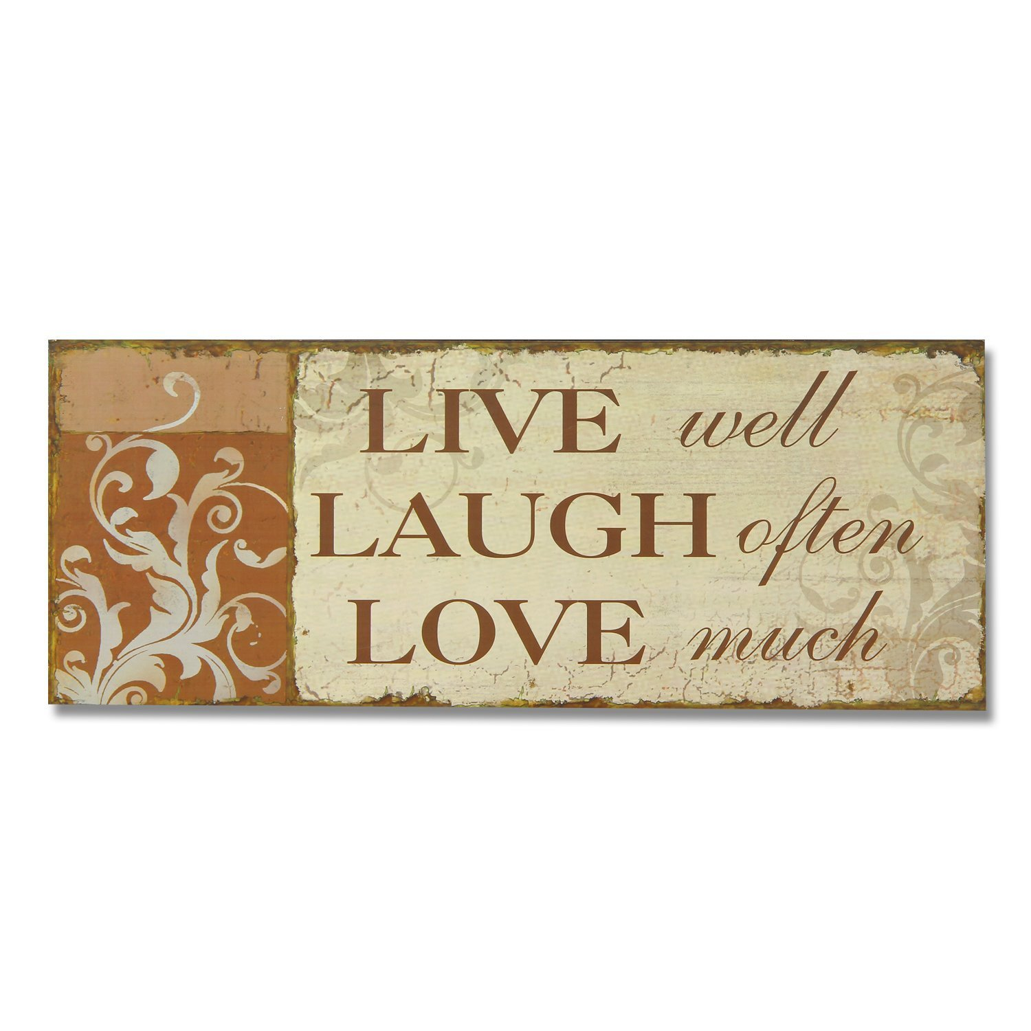 Amazon adeco sp0155 decorative wood wall hanging sign amazon adeco sp0155 decorative wood wall hanging sign plaque live laugh love orange beige home decor home kitchen amipublicfo Image collections