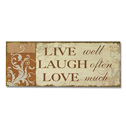 Adeco SP0155 Decorative Wood Wall Hanging Sign Plaque Live Laugh Love Orange Beige Home