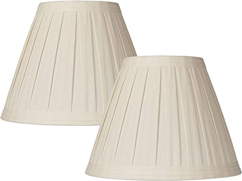 Set of 2 Creme Linen Box Pleat Lamp Shades 7x14x11 Spider – Springcrest