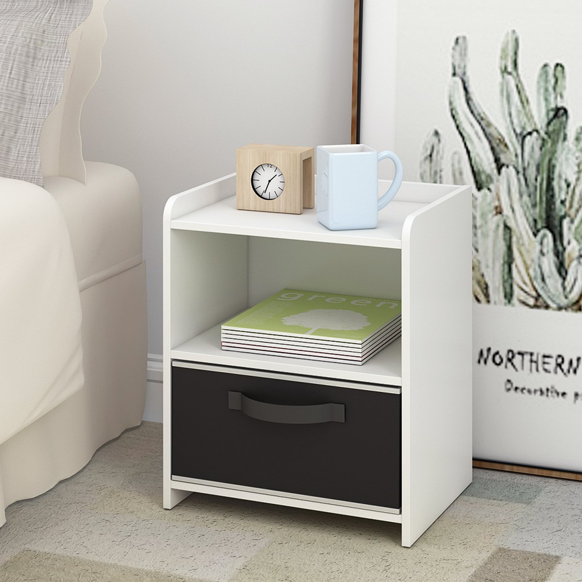 DEVAISE Wood End Table/Night Stand/Bedside Table Storage Shelf with Bin Drawer, White