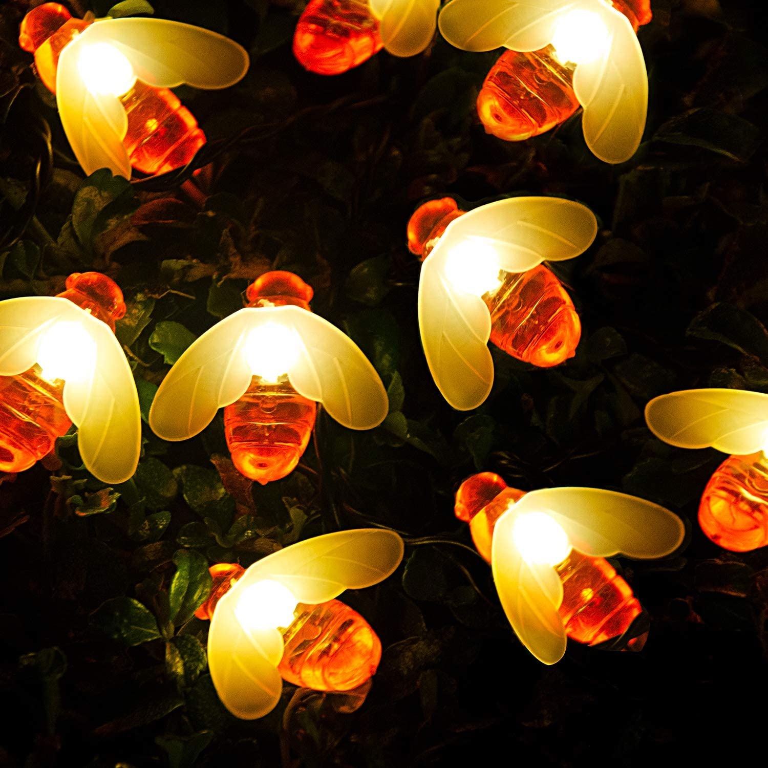 Solar String Lights, 30 led Solar Bee Lights, Fairy Lights, 23 ft Solar Garden Lights,2 Modes Solar Flower Lights for Outdoor, Home, Lawn, Wedding, Patio, Party and Holiday Decorations, 2-Pack