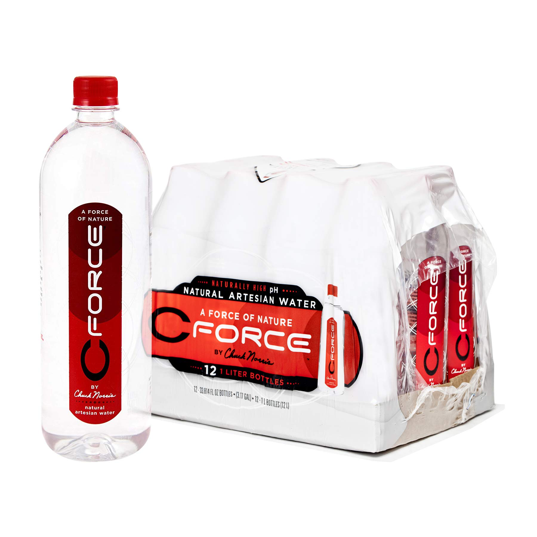 CForce Natural Artesian Bottled Water, Naturally High pH + Alkaline, 1 Liter (33.8oz), (12 CT, Pack of 4) by CFORCE