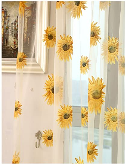 Sunflower Curtains Kitchen Interesting Decorating Design