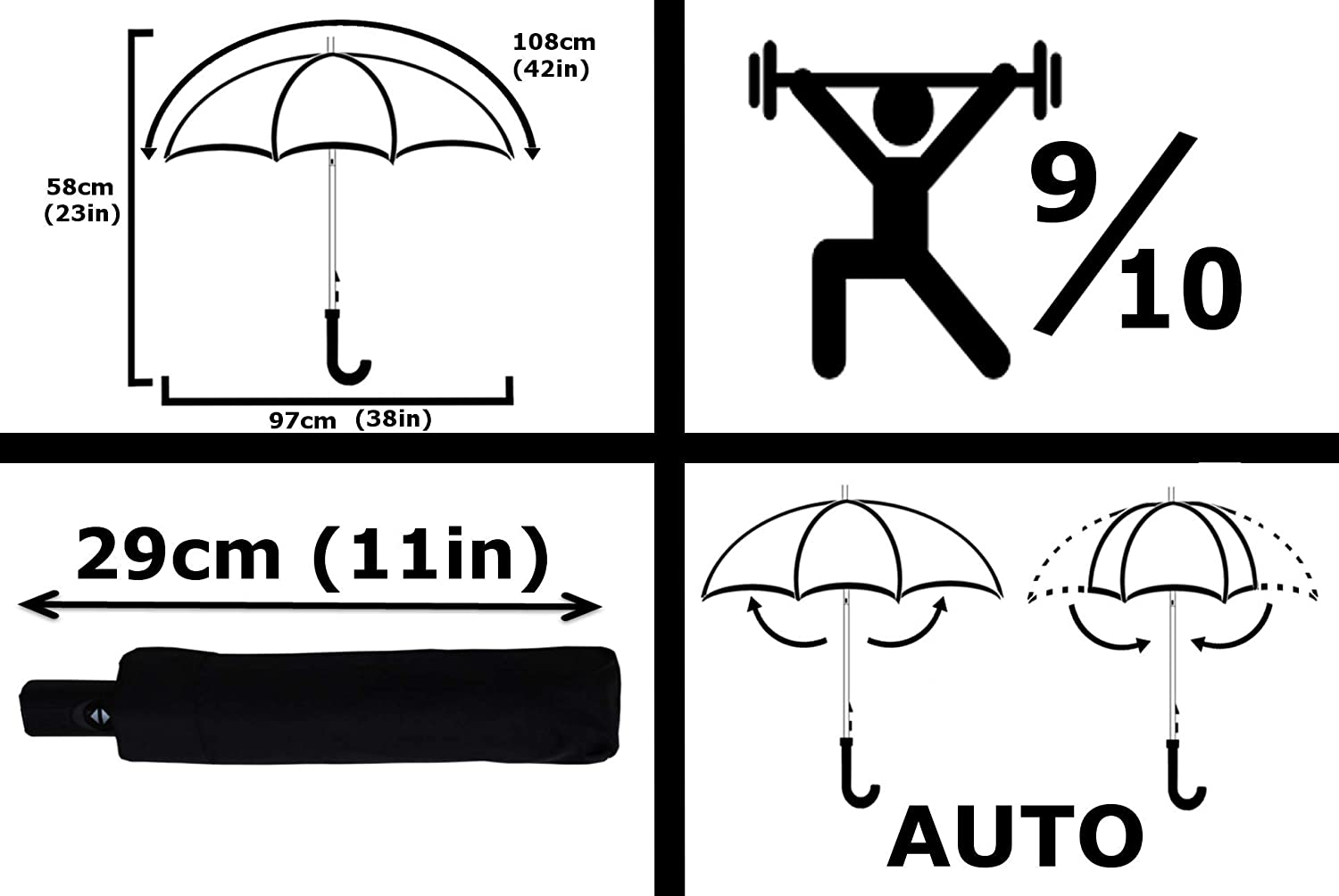 COMPACT YET STRONG Windproof Auto Open Close Lime Green Small Folding Umbrella Vented Canopy COLLAR AND CUFFS LONDON