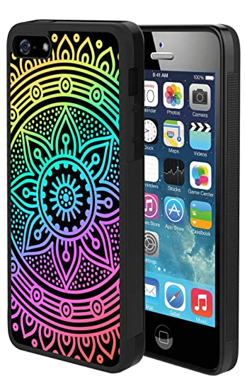 1dd44fcb4b9 Image Unavailable. Image not available for. Color: Anti-Scratch &  Protective Cover for iPhone SE 5s 5 Colorful Mandala TPU ...