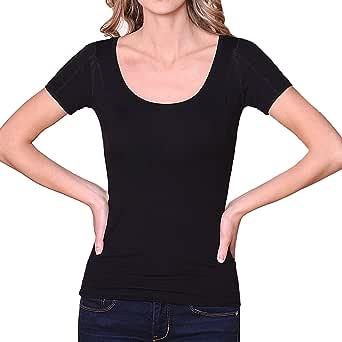 Sweatproof Undershirt for Women, Scoop Neck, Black, Sweat Pads