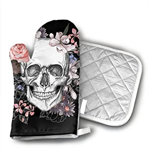 TRENDCAT Pink Floral Sugar Skull Flower Oven Mitts and Potholders (2-Piece Sets) - Extra Long Professional Heat Resistant Pot Holder & Baking Gloves - Food Safe