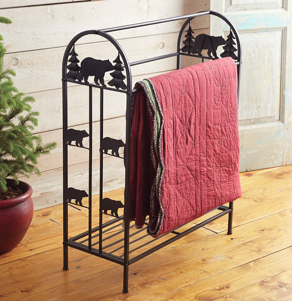 Black Bear Metal Quilt Rack
