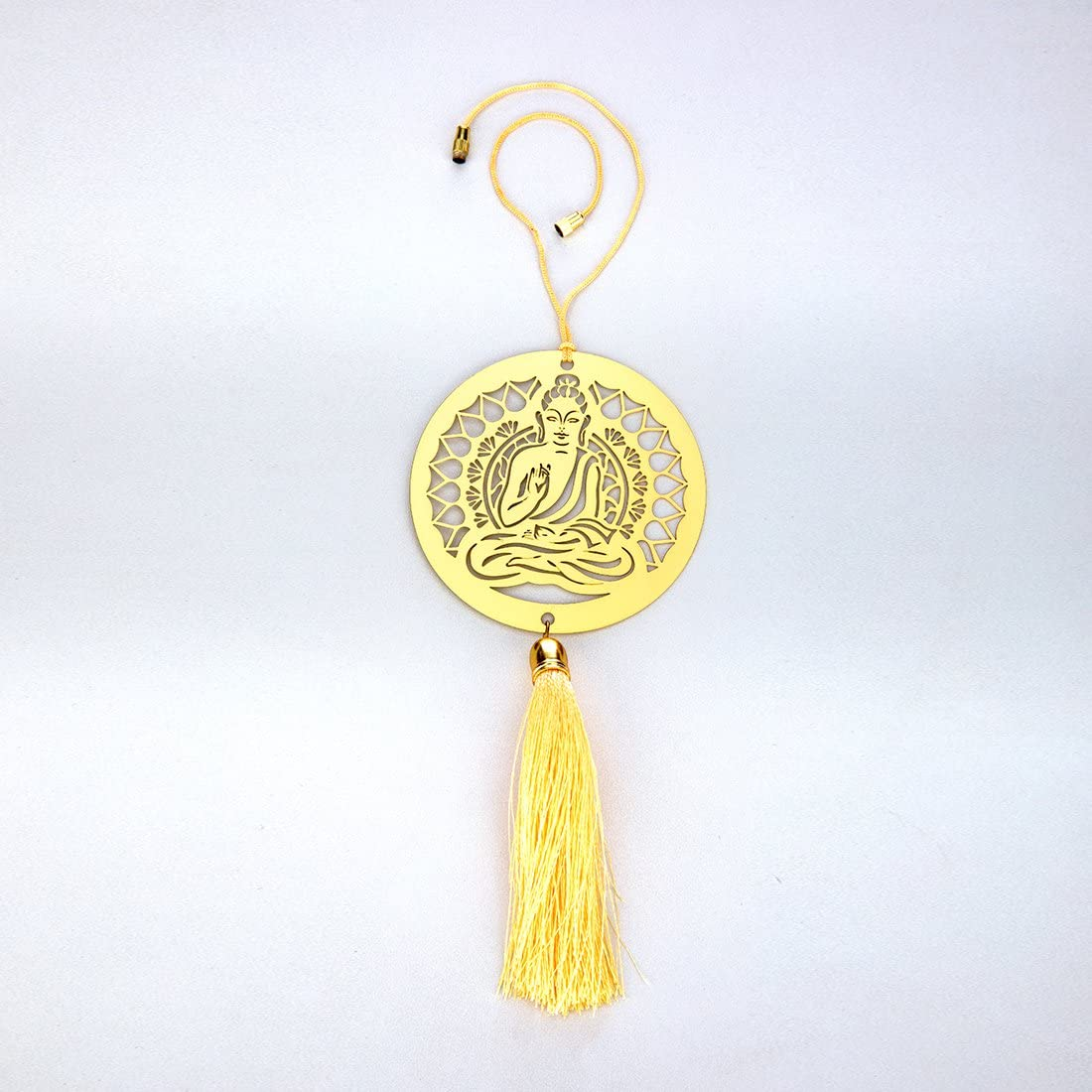 ADORAA Buddha - Rear View Mirror Car Hanging Ornament/Perfect Car Charm Pendant/Amulet - Accessories for Car Décor in Brass for Divine Blessings & Safety/Protection