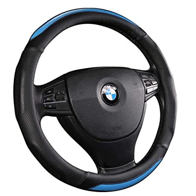 ANDALUS Car Steering Wheel Cover, Microfiber Leather, Universal 15 inch (Black, Blue): Automotive