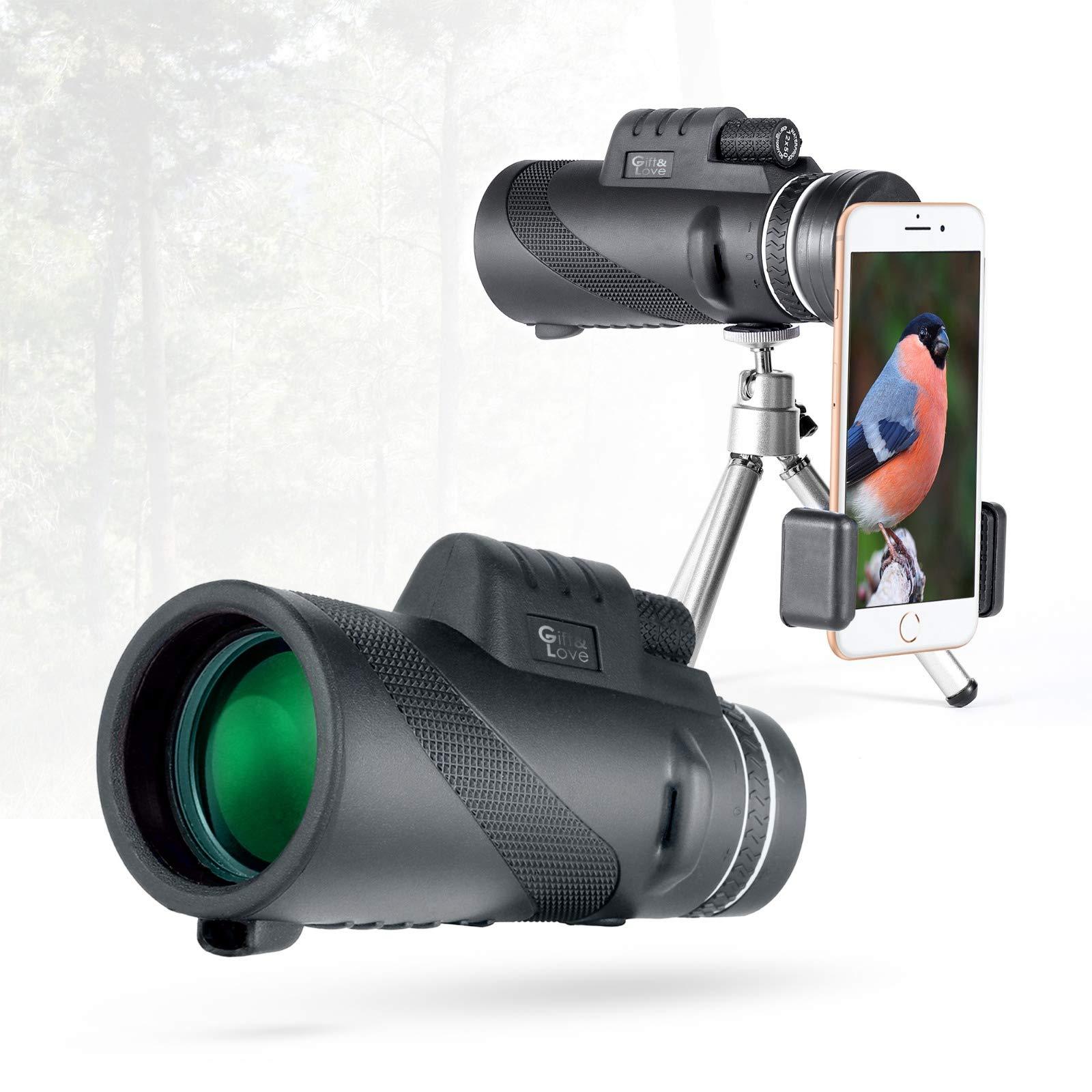 Waterproof BAK4 Prism FMC Coating Mono Scope for Bird Watching Camping Hunting 12x50 HD High Power Telescope with Smart Phone Amount Tripod CGBOOM Monocular Telescope Hiking