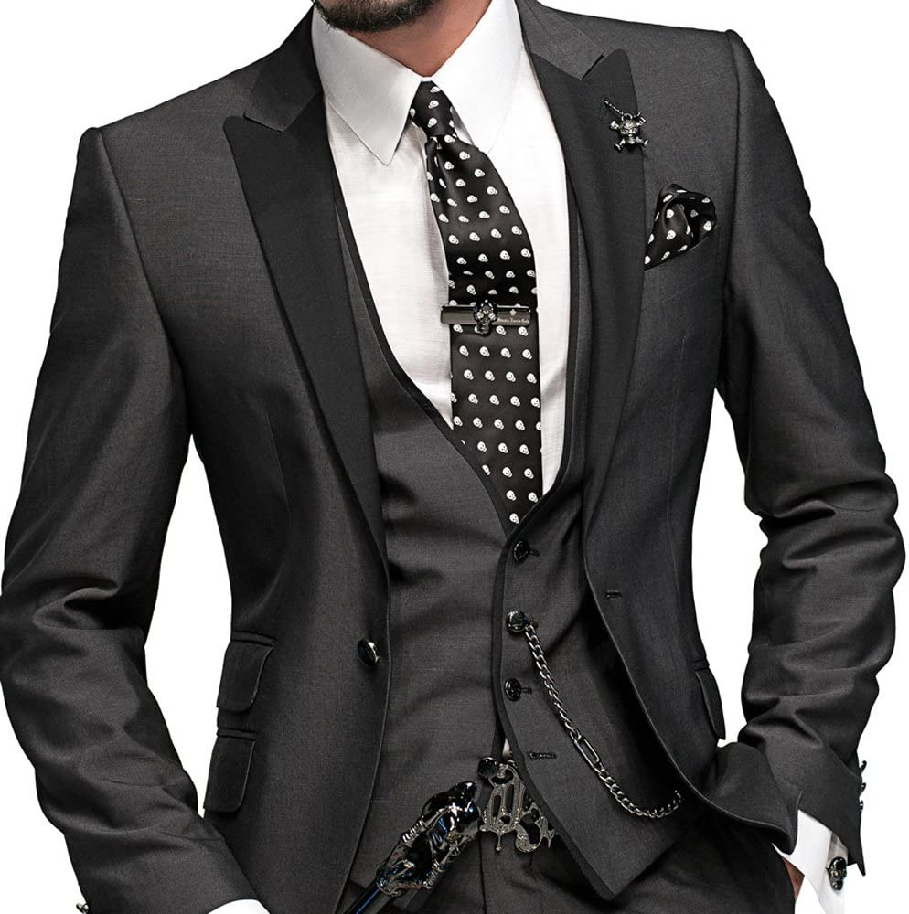 Kelaixiang Mens Classic Suits 1 Button Slim Fit 3 Pieces Suits Slim Fit Tuxedo Vest Dress